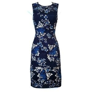 WHBM | Blue Floral Lace Sheath Dress 0